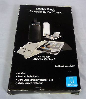 Apple iPod Touch 4G Kit - Leather Case, 1 Clear & 1 Mirror Screen Protector