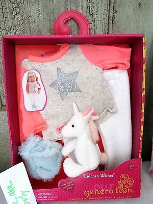 """Our Generation FLUFFY UNICORN WISHES Pajamas Pj's Clothes Set /toy 18"""" Girl Doll"""