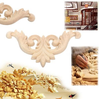 2Pcs Floral Wood Carved Decal Furniture Woodcarving Decorative Figurines Crafts