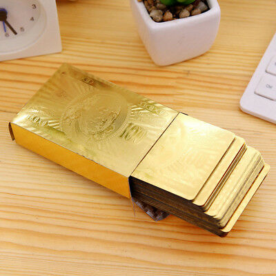 unique Waterproof 24K Gold Foil Plated Cover Poker 54 Play Cards Table Game fun