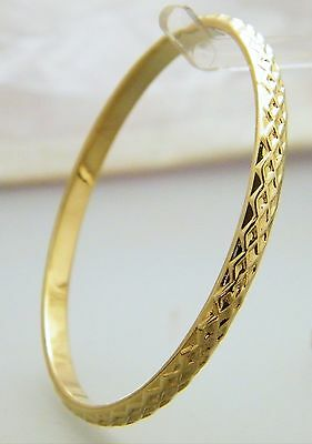 """Gold Criss Cross Pattern Creola Bangle Baby Size 48mm - 1 7/8"""" 22ct Gold Plated"""