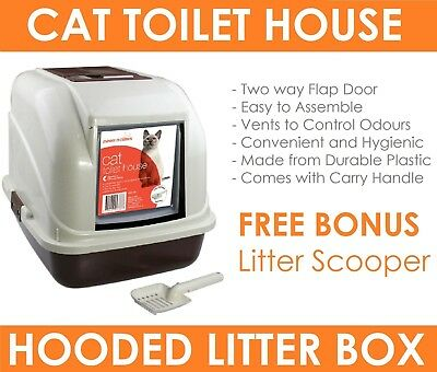 Portable Hooded Carrier Cat Pet Toilet Litter Box Tray with Door Flap & Scoop