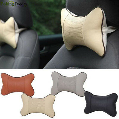 1Pc Car Auto Travel Seat Head Neck Rest Bone Pillow Leather Cushion Pad Headrest
