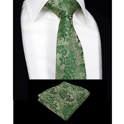 Floral Mint Green Mens Tie Handkerchief Silk Pocket Square Hanky Necktie