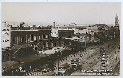 C1905 Rp Postcard Horse Drawn Trams King William St Adelaide No Clock M67