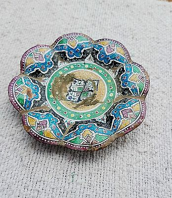 18C Antique Rare Original Beautiful Design Copper Enamel Painted Plate