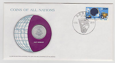 East Germany Coins Of All Nations 1978 Aluminum 1 Mark Coin Cover Stamp
