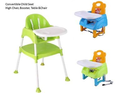 3 in 1 Baby Convertible Table Seat Booster Toddler Feeding Highchair NEW TB