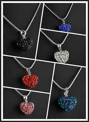 NEW Silver Plated Necklace Fashion Crystal Heart Jewelry Pendant Chain