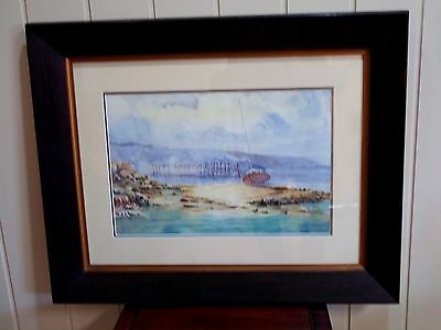 Antique Oak Framed Coastal Watercolour by Terrence Thompson