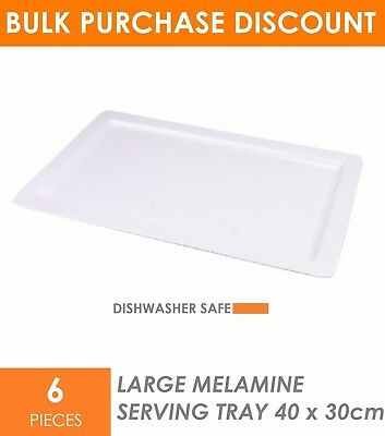 6 x Large Melamine Serving Tray 48 x 30cm White Serving Platter Catering Tray