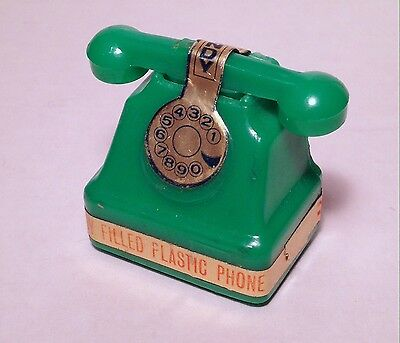 Vintage 1969 Green Alberts HELLO Telephone Candy Container Woodstock hippy sippy