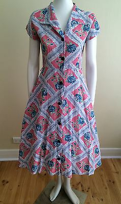 Vintage 40s 50s Swing Pinup Dress Rockabilly Floral Day Dress Medium