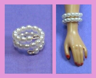 Dreamz WHITE PEARL SNAKE BRACELET Doll Jewelry VINTAGE REPRO made for Barbie