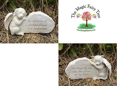 Pet Memorial Statue - Dog / Cat - Headstone / Statue with angels wings