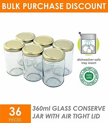 36 x 360ml Screw Top Round Favours Lolly Conserve Jam Preserving Jar Glass Jars
