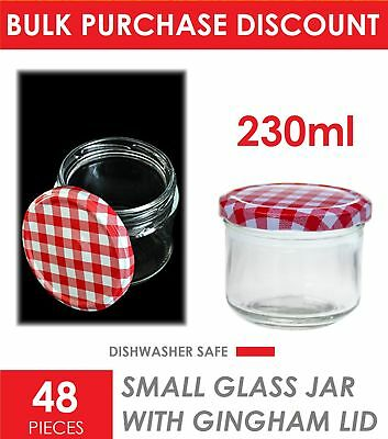 48 x 230ml Glass Jam Jars with Gingham Lid Wedding Favours Bomboniere Lolly Jar