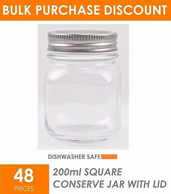 48 x 200ml Small Glass Jars Preserving Conserve Storage Jam Jar Wedding Favours
