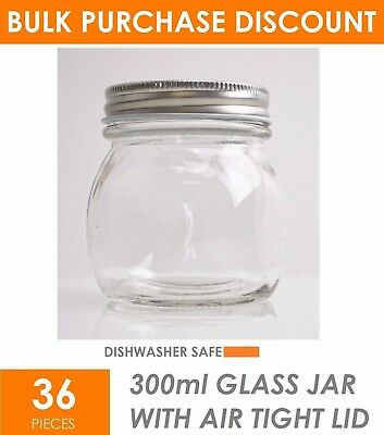 36 x 300ml Mini Small Glass Jars with Lid - Conserve Jam Food Favours Lolly Jar