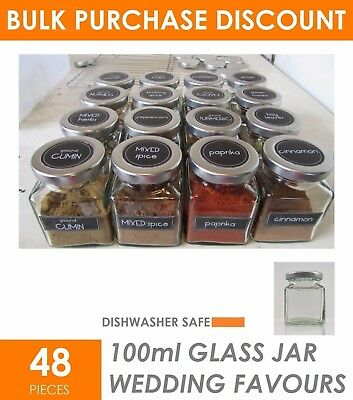 48 x 100ml Small Glass Jars with Lid Lolly Jam Honey Spice Canister Conserve Jar