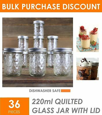 36 x 220ml Quilted Glass Jars with Lid Conserve Preserving Jam Jar Glass Storage