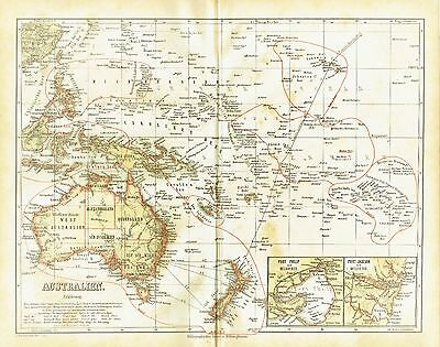 Australia antique map 1871 - Melbourne Sidney trade post traffic, USA Colonies