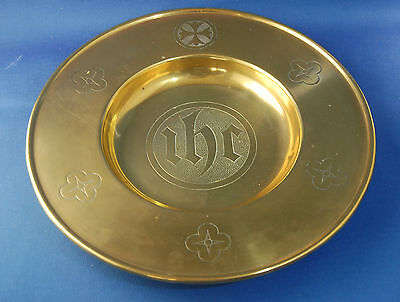 An attractive Victorian brass church gothic style communion or collection plate