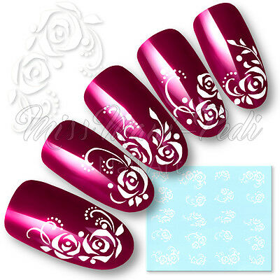 Rose Nail Art Water Decals Transfers Stickers White Flowers Dots Roses Y047A