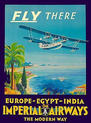 Europe, Egypt, India Imperial Airways Vintage Airline Travel Art Poster Print