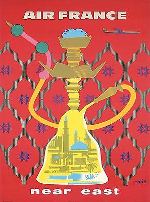 Near East Middle East Hookah Pipe Vintage Airline Travel Advertisement Poster