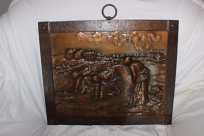 Vintage French Arts and Crafts Copper Hand beaten  Fire Screen Harvesting Scene