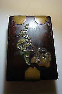 Antique Old Chinese Zitan Rosewood Jewelry Box with Stones - As is