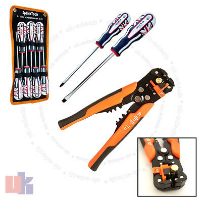 Wire Crimping Stripper Cutter and 7 Magnetic Phillips Torx Screwdriver Set UKED