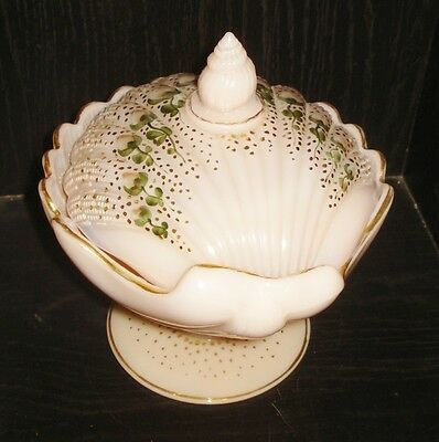 Vintage 1930's Cambridge Crown Tuscan Pink Milk Glass Candy Dish Shell Design
