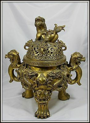 "Grand Colossal  ""Chinese Bronze Incense Burner""  Extraordinary!  (19"" H x 16"" W)"
