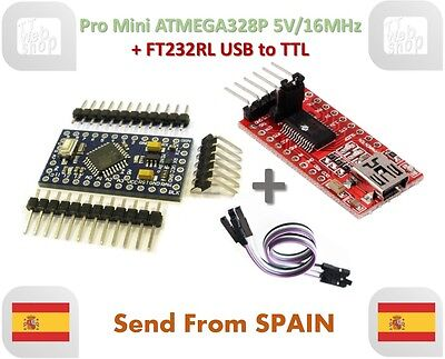 Pro Mini ATMEGA328P 5V/16MHz & FTDI FT232RL USB to TTL Serial Converter