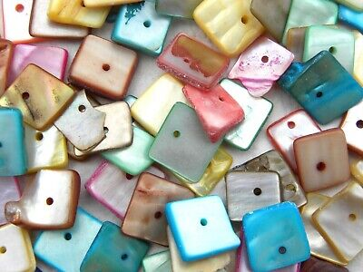 80 Assorted Colour Squared Pearlised Shell Chips Beads with Drilled Hole