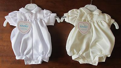 Baby Premature Christening Romper Suit White Ivory Boys Prem Clothing Up To 5Lb