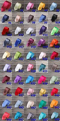 """SKINNY NARROW NECK TIE Solid Casual Plain Slim Suit 2"""" Wedding Party 50 Colors"""