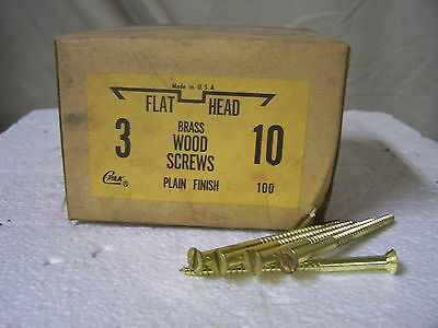 "#10 x 3"" Flat Head Solid Brass Wood Screws Slotted Made in USA Qty. 100"