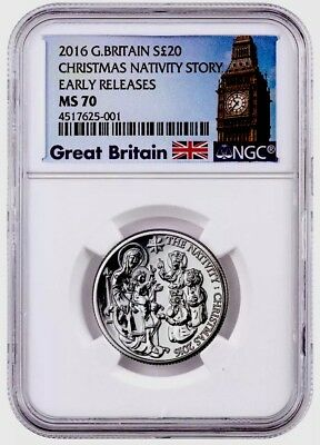NCG 2016 G Britain S£20 Pound Silver Christmas Nativity Story Early Release MS70