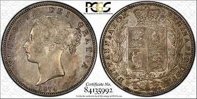 1874 Half Crown, PCGS AU53, Superb, Victoria, UK, Great Britain, England