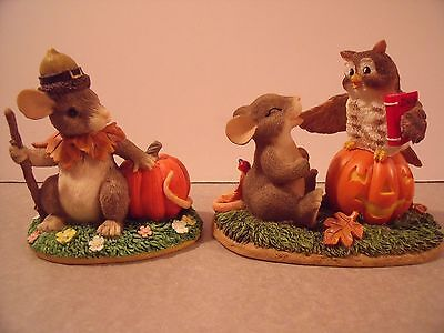 2 Charming Tails Halloween Figurines What a Hoot Pilgrims Progress mice & owl