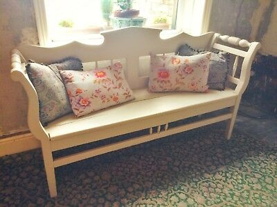 Antique Vintage Wooden Bench, Settle, Chaise, Day Bed Painted Farrow & Ball.