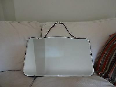 "Vintage Rectangle 1930's,40's, Bevelled Edge Mirror-original chain-13"" x 21"""