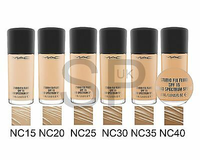 MAC Studio Fix SPF 15 FLUID Foundation VARIOUS SHADES. Full Size 30ml. Brand NEW
