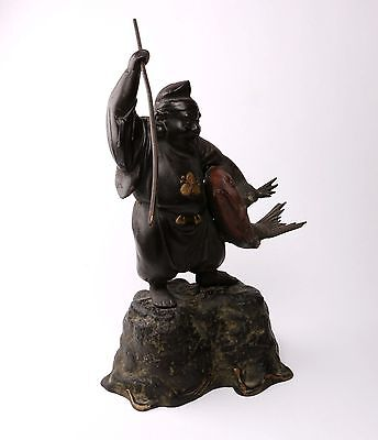 Japanese Metal Cast of Fisherman with Harpoon and Fish