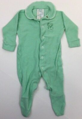 Vintage Terry Cloth Baby Sleeper Green Elephant JC Penney Toddle Time Size 1/2