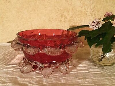 Antique Victorian Cranberry Ruby Art Glass Bowl