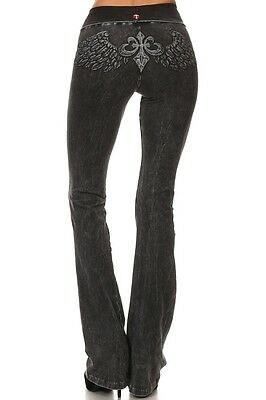 T-PARTY Black Mineral Wash Fold Over Waist Angel Wing Yoga Workout Pants New